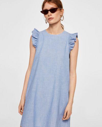 Джинсовое платье мини с поясом Mango