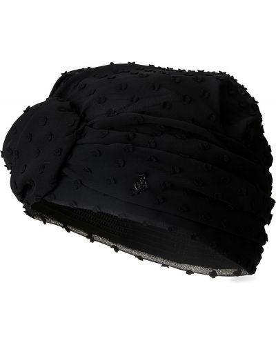 Czarny turban z falbankami Maison Michel