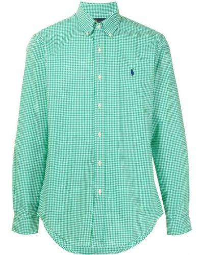 Синяя рубашка с длинными рукавами с воротником Polo Ralph Lauren