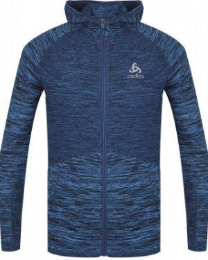 Прямая синяя куртка с капюшоном на молнии с карманами Odlo
