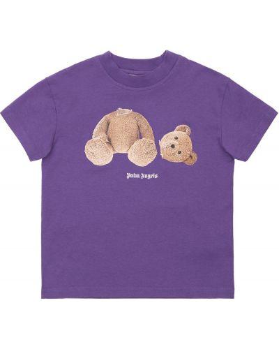 Фиолетовая трикотажная футболка Palm Angels