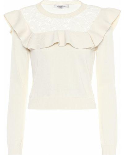 Sweter przeoczenie ażurowy z falbankami Valentino