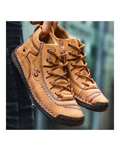 Армейские желтые кожаные ботинки Newchic