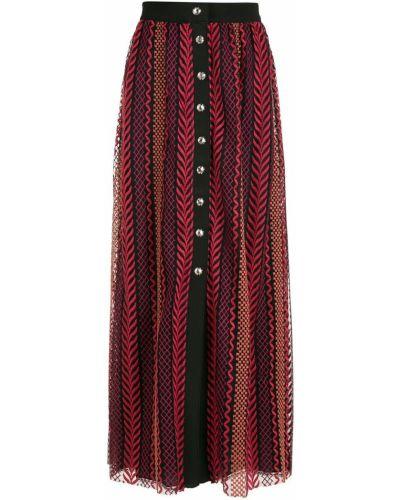С завышенной талией красная юбка миди на пуговицах НК