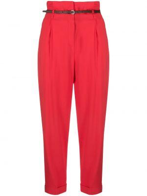 Красные укороченные брюки с поясом с высокой посадкой из вискозы Peserico