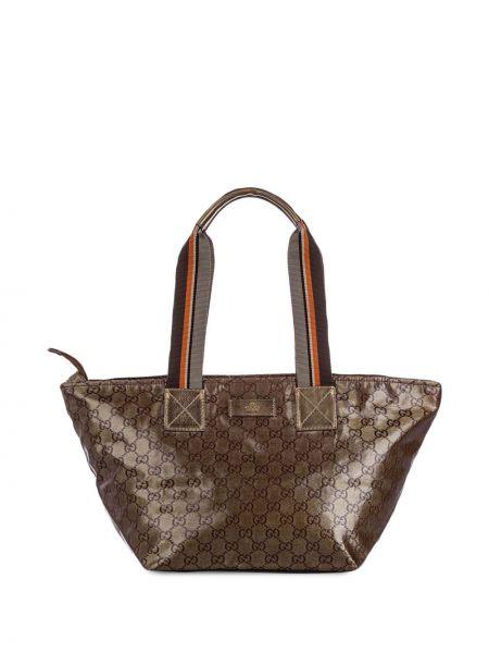 Коричневая парусиновая сумка на плечо на молнии с нашивками Gucci Pre-owned