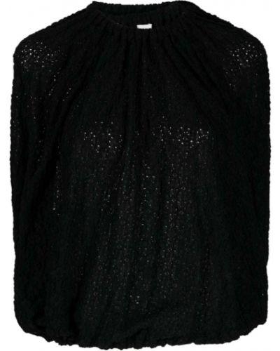 Czarny bluzka z falbankami krótkie rękawy Jil Sander