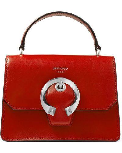 Красный кожаный маленькая сумка с карманами Jimmy Choo