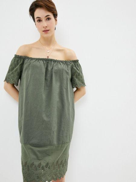 Платье с открытыми плечами зеленый Perfect J