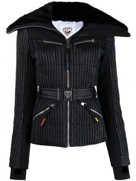 Черная стеганая длинная куртка из искусственного меха Rossignol