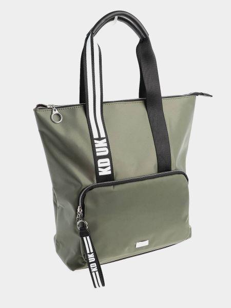 Зеленая кожаная сумка шоппер на молнии Keddo