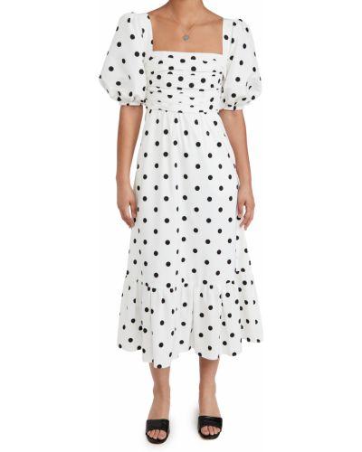 Текстильное платье миди в горошек с декольте Self-portrait