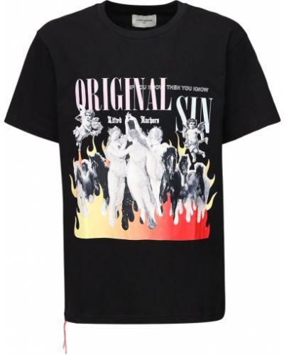 Czarny t-shirt bawełniany z printem Lifted Anchors
