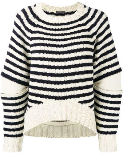 Шерстяной длинный свитер в полоску круглый Alexander Mcqueen
