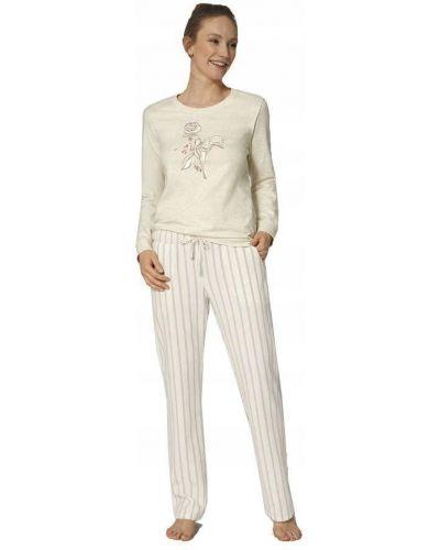 Biała piżama bawełniana z długimi rękawami Triumph