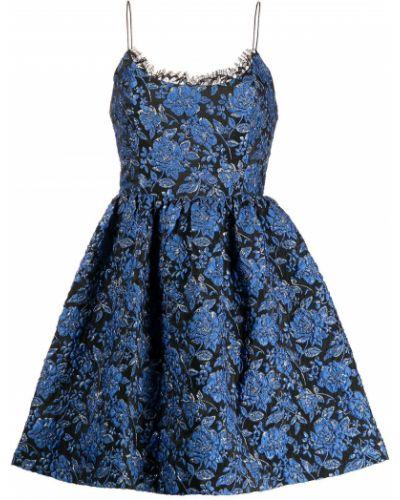 Платье мини в цветочный принт - синее Alice+olivia