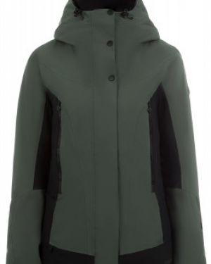 Приталенная теплая зеленая куртка с капюшоном на молнии VÖlkl