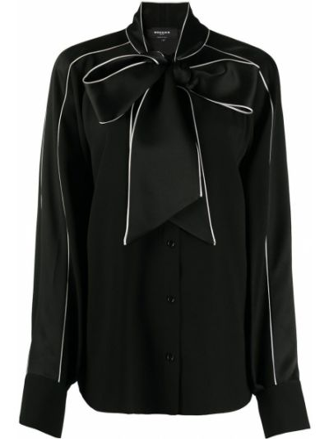С рукавами черная блузка с длинным рукавом на пуговицах из вискозы Rochas