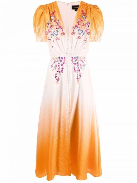 Платье миди с V-образным вырезом с короткими рукавами с вышивкой Saloni