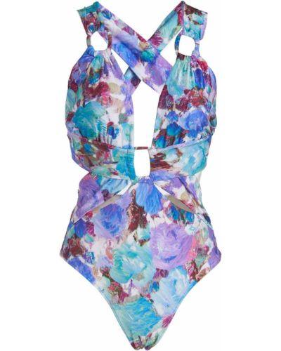 Слитный купальник с открытой спиной - фиолетовый Patbo