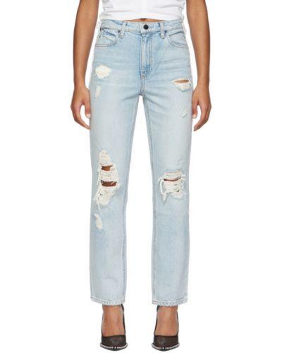 Prosto niebieski jeansy do kostek z paskiem z prawdziwej skóry Alexander Wang
