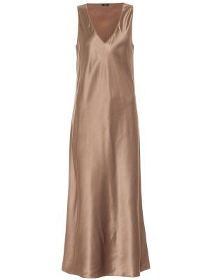 Коричневое шелковое платье миди Joseph