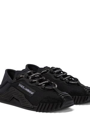 Кружевные черные кроссовки на шнурках Dolce & Gabbana