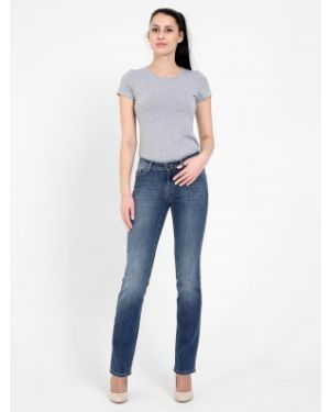 Синие прямые джинсы стрейч с пайетками на молнии F5