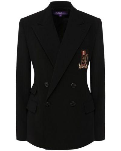 Приталенный черный пиджак с вышивкой с лацканами Ralph Lauren