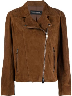 Коричневая кожаная куртка с бахромой Simonetta Ravizza