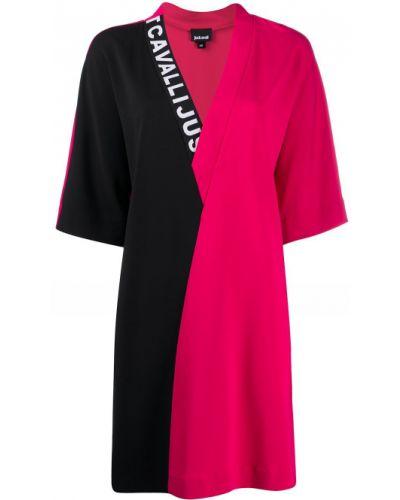 С рукавами розовое платье с вырезом Just Cavalli