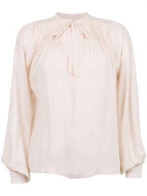 Розовая кружевная шелковая блузка Isolda