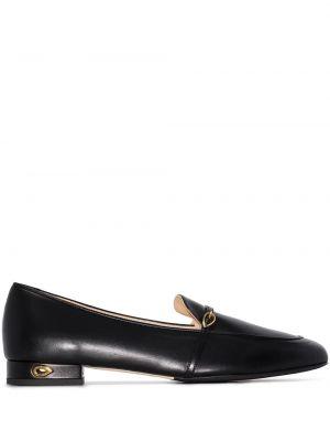 Кожаные черные лоферы на каблуке с пряжкой Jennifer Chamandi