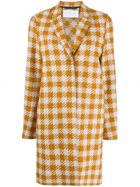 С рукавами желтое однобортное шерстяное пальто Harris Wharf London