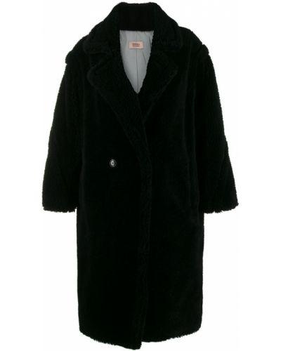 Шерстяное черное длинное пальто с воротником Yves Salomon Meteo
