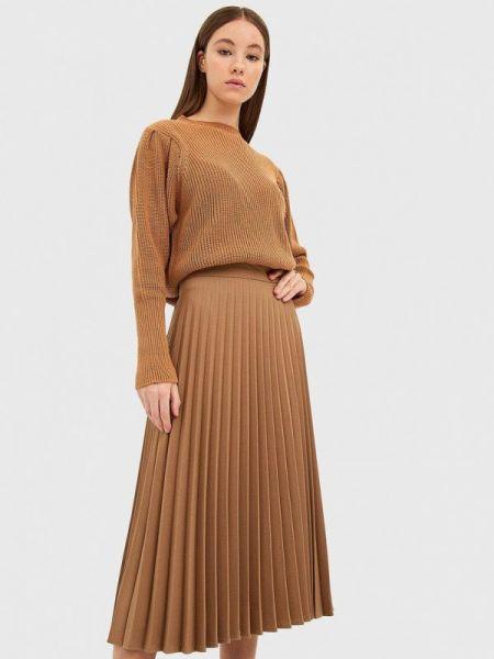 Плиссированная юбка коричневый весенняя Stradivarius