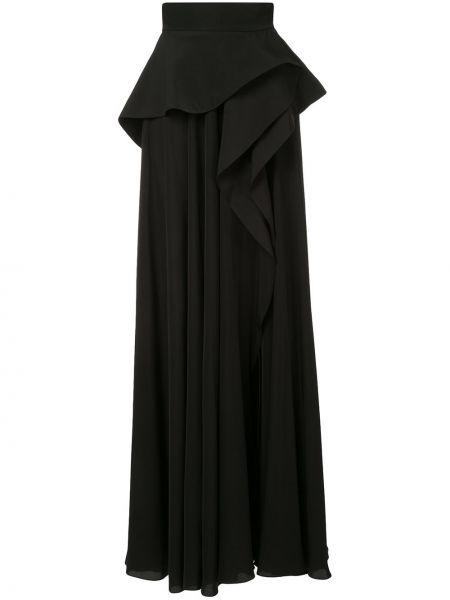 Черная ажурная юбка макси с оборками Azzi & Osta