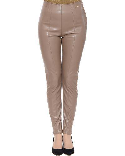 Бежевые брюки из искусственной кожи Patrizia Pepe