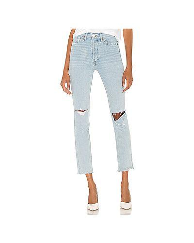 Хлопковые синие прямые джинсы на пуговицах узкого кроя Re/done