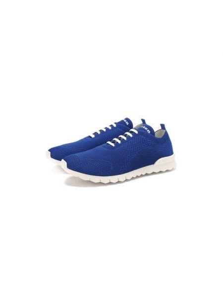 Синие текстильные кроссовки на шнуровке с подкладкой Kiton