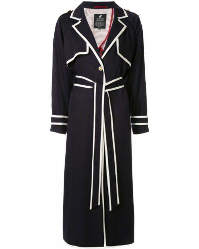 Синее длинное пальто с капюшоном на пуговицах Loveless