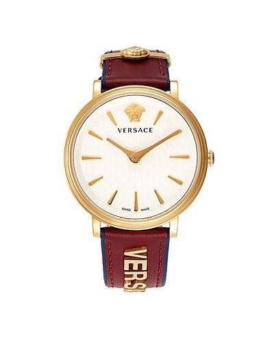 Кожаные серебряные часы на кожаном ремешке круглые Versace