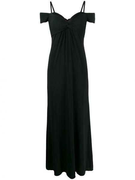 Черное тонкое платье на бретелях из вискозы Moschino Pre-owned