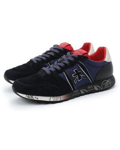 Синие кожаные кроссовки с подкладкой Premiata