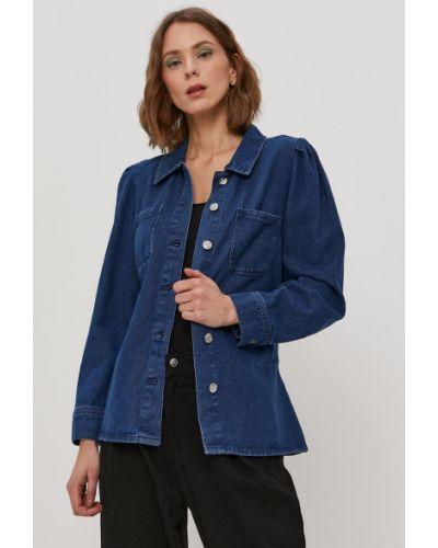 Niebieska kurtka jeansowa z kapturem bawełniana Only