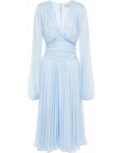 Ażurowa niebieska sukienka midi z jedwabiu Alexandre Vauthier