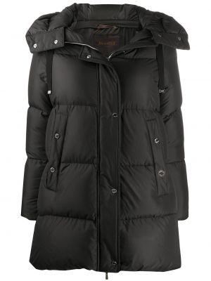 Пуховое черное пальто классическое с капюшоном Moorer
