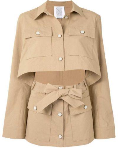 Хлопковая коричневая куртка с воротником Rosie Assoulin
