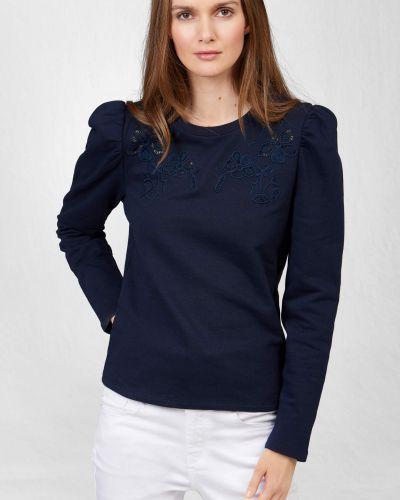 Niebieski bawełna z rękawami t-shirt Orsay
