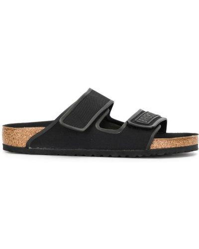 Otwarty czarny sandały płaska podeszwa otwarty palec u nogi Birkenstock
